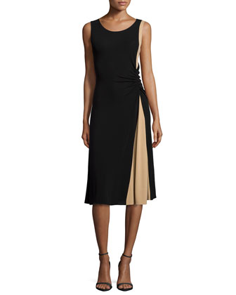 Colorblock Ruched Jersey Midi Dress, Black/Nude