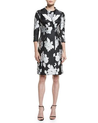 Macro Floral-Print Duchesse Satin Coat, Macro Floral Jacquard Knit Dress & ...