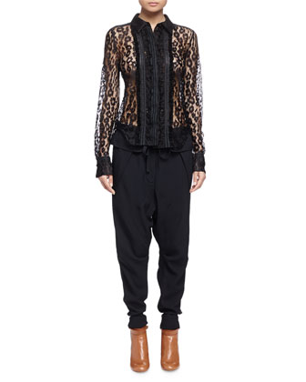 Leopard-Print Fur Paneled Long Vest