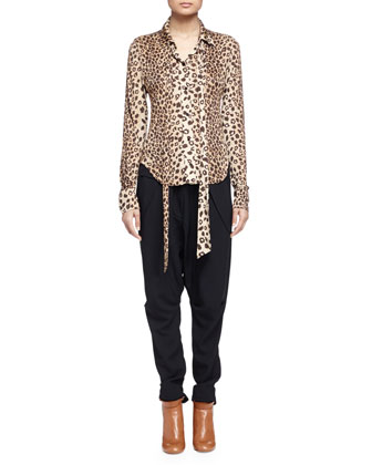 Leopard-Print Sash-Detailed Blouse