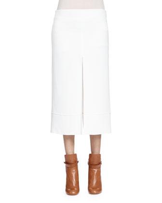 Long-Sleeve Leopard-Lace Blouse & High-Slit Column Skirt