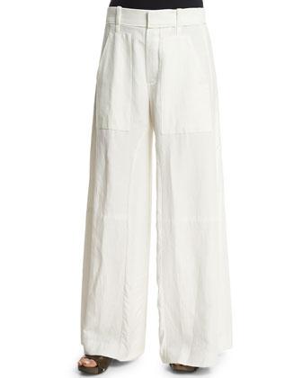 Textured Wide-Leg Pants, Milk