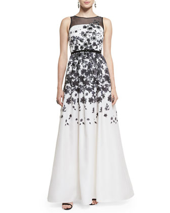 Graphic Floral Degrade Satin Organza Gown