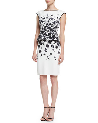 Graphic Floral Degrade Peplum Dress