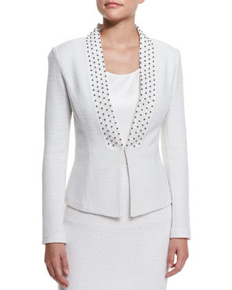 Embroidered Triade Knit Jacket, Cream Multi