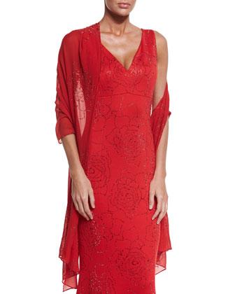 Sequin Rose Milano Knit V-Neck Gown, Granita