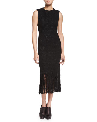 Tweed Fringe Midi Dress