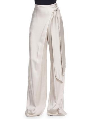 Wide-Leg Wrapped Satin Pants, Beige