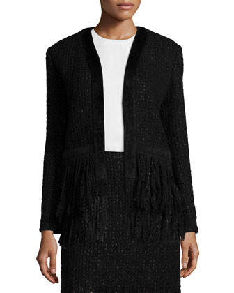 Fringe-Hem Open Tweed Jacket