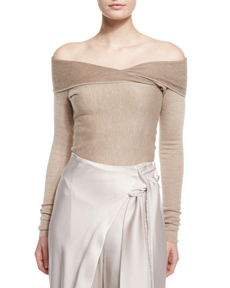Off-The-Shoulder Cashmere Sweater & Wide-Leg Wrapped Satin Pants