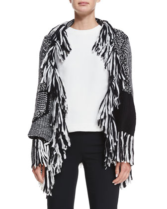 Mixed Knit Fringe Wrap Cardigan