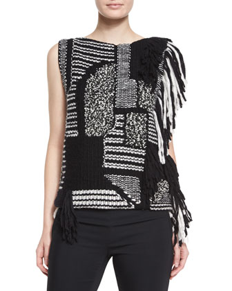Mixed-Knit Fringe Top