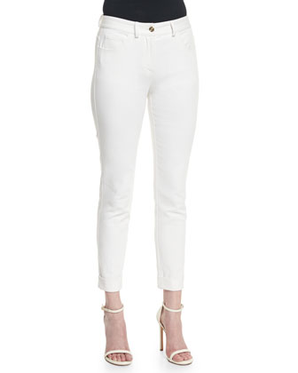 Bardot 5-Pocket Slim Capri Jeans, White
