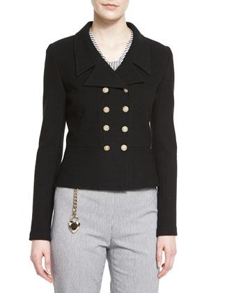 Nouveau Boucle Knit Spencer Jacket, Stripe-Print Silk Cap-Sleeve Shell, ...