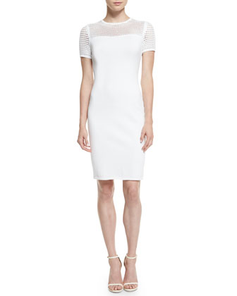 Mesh Knit Short-Sleeve Sheath Dress