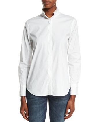 Monili-Trim Long-Sleeve Shirt, White