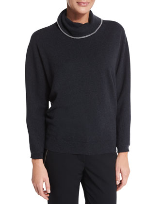 Monili-Trim Cashmere Sweater, Black