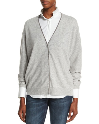 Monili-Trim Cashmere Cardigan, Pale Gray