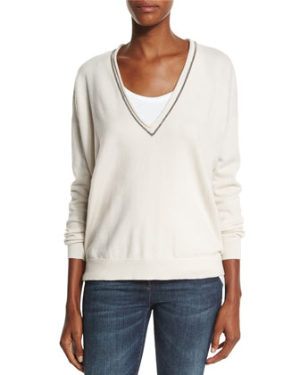 Monili-Trim V-Neck Cashmere Sweater, Vanilla
