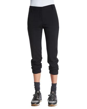 Tailored Monili-Trim Cigarette Pants, Black
