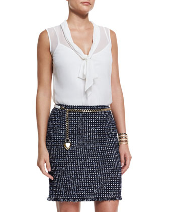 Leather Curb Chain Hip Belt with Heart Charm