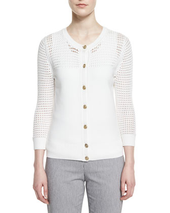 Mesh Yoke Knit Cardigan, Bianco