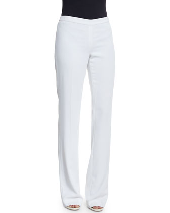 Jennifer Fit Classic Cady Boot-Cut Pants, Bianco