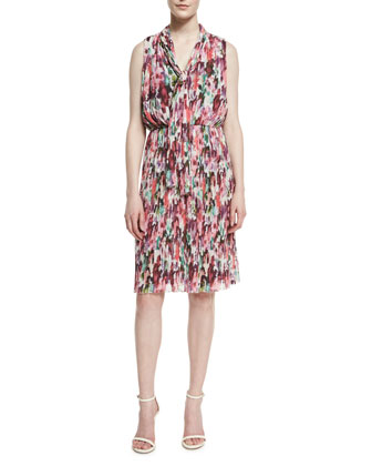 Brigitte Floral-Print Fortuny Pleated Georgette Dress