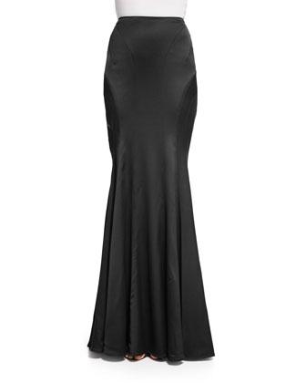 Cap-Sleeve Tuck-Pleated Blouse & Maxi Satin Flounce Skirt