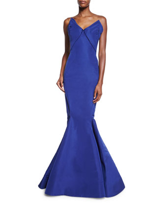 Strapless Bow-Bodice Mermaid Gown
