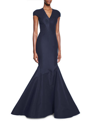 Cap-Sleeve V-Neck Trumpet Gown, Midnight
