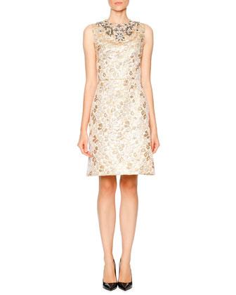 Sleeveless Embellished Dress, Gold