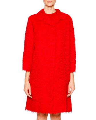 Cordonetto Lace Topper & Shift Dress, Bright Red