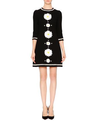 Elbow-Sleeve Daisy Sheath Dress, Black
