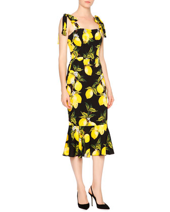 Sleeveless Lemon Flounce-Hem Dress, Yellow/Black