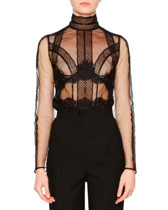 Tulle Long-Sleeve Sheer Blouse, Black