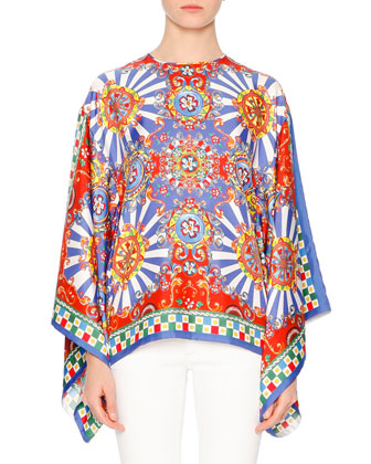 Flutter-Sleeve Carretto-Print Tunic, Red/Yellow/Blue
