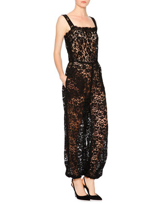 Sleeveless Square-Neck Lace Jumpsuit, Black