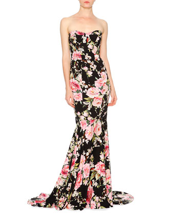 Floral-Print Strapless Bustier Mermaid Gown, Black/Pink/Green