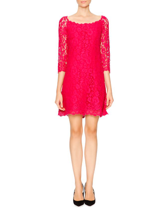 Cordonetto Lace Sheath Dress, Shocking Pink