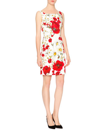 Sleeveless Poppy & Daisy Print Sheath Dress, Red/White/Yellow