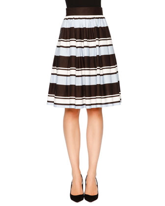 Striped A-Line Party Skirt, Blue/White/Black