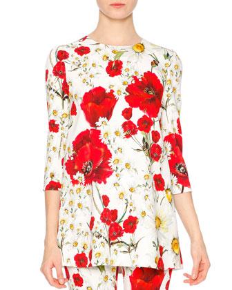 3/4-Sleeve Poppy & Daisy T-Shirt, Red/White/Yellow