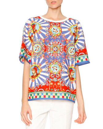 Carretto-Print Short-Sleeve T-Shirt, Red/Yellow/Blue