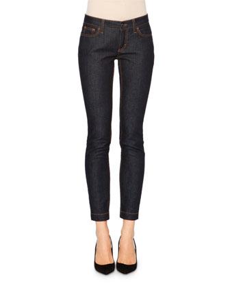 Mid-Rise Skinny Jeans, Dark Indigo