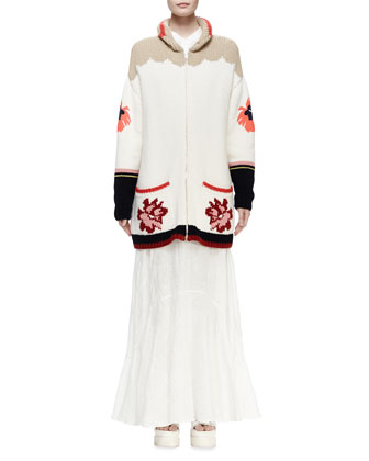 Horse-Print Intarsia Cardigan Sweater & Sleeveless Dress W/Broderie ...