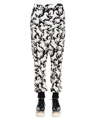 Horse-Print Silk Harem Pants, Black