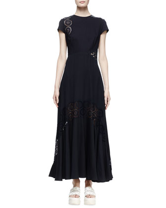 Short-Sleeve Eyelet Maxi Dress, Midnight