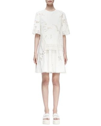 Half-Sleeve Layered Eyelet Dress, White