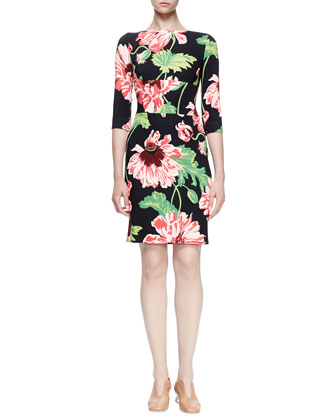 Ada Floral-Print Sheath Dress, Black